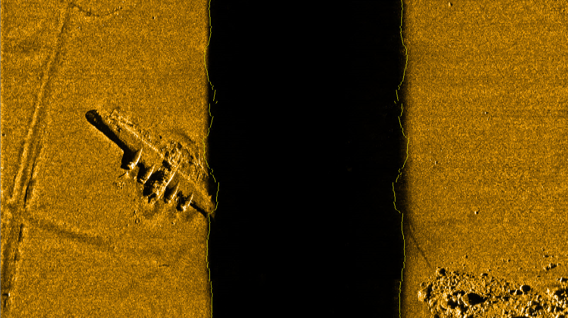 Bomber plane scanned by sidescan sonar